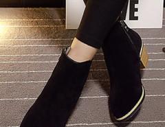 Black Suedette Pointed Zipper Side Ankle Boots Choies.com bester Fashion-Online-Shop Großbritannien Europa