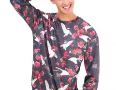 Black Swans Printed Polyester Sweatshirt Carnet de Mode bester Fashion-Online-Shop