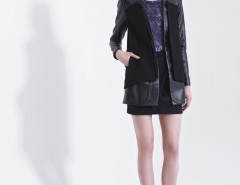 Black Synthetic Leather Blazer Carnet de Mode bester Fashion-Online-Shop