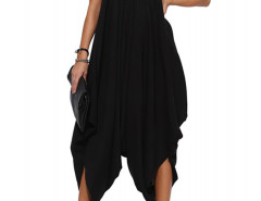 Black V Neck Ruffle Asymmetric Loose Cami Jumpsuit Choies.com bester Fashion-Online-Shop Großbritannien Europa