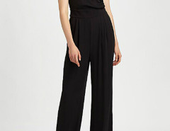 Black Wrap Front Tied Waist Ruched Jumpsuit Choies.com bester Fashion-Online-Shop Großbritannien Europa