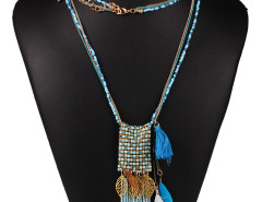 Blue Bead Fringe Leaf And Feather Pendant Multirow Necklace Choies.com bester Fashion-Online-Shop Großbritannien Europa