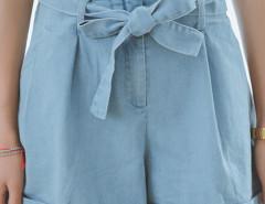Blue Bowtie Waist A-line Denim Shorts Choies.com bester Fashion-Online-Shop Großbritannien Europa
