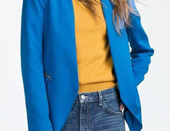 Blue Collarless Open Front Asymmetric Zipper Detail Slim Blazer Choies.com bester Fashion-Online-Shop Großbritannien Europa