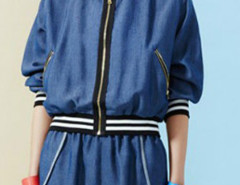 Blue Contrast Stripe Trim Denim Bomber Jacket And Shorts Choies.com bester Fashion-Online-Shop Großbritannien Europa