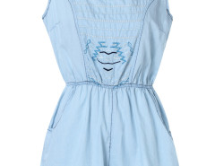 Blue Embroidery Elastic Waist Sleeveless Romper Playsuit Choies.com bester Fashion-Online-Shop Großbritannien Europa