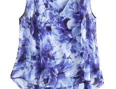 Blue Floral V-neck Asymmetric Hem Chiffon Vest Choies.com bester Fashion-Online-Shop Großbritannien Europa