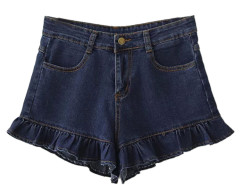 Blue High Waist Ruffle Hem Denim Shorts Choies.com bester Fashion-Online-Shop Großbritannien Europa