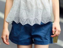 Blue Hight Waist Denim A-line Shorts Choies.com bester Fashion-Online-Shop Großbritannien Europa