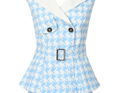 Blue Houndstooth Lapel Tie Wiast Sleeveless Blouse And Shorts Choies.com bester Fashion-Online-Shop Großbritannien Europa