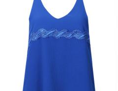 Blue Lace Detail Double Strap Backless Vest Choies.com bester Fashion-Online-Shop Großbritannien Europa