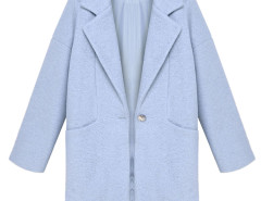 Blue Lapel Loose Woolen Coat Choies.com bester Fashion-Online-Shop Großbritannien Europa