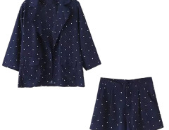 Blue Lapel Polka Dot 3/4 Sleeve Pocket Detail Coat And Short Choies.com bester Fashion-Online-Shop Großbritannien Europa