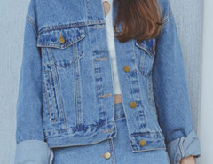 Blue Long Sleeve Button Up Denim Coat Choies.com bester Fashion-Online-Shop Großbritannien Europa