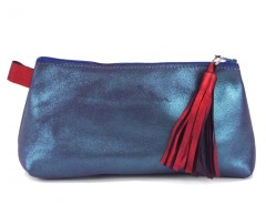 Blue Metallic Suede Wallet With Leather Tassel Carnet de Mode bester Fashion-Online-Shop