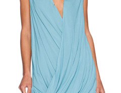 Blue Plunge Wrap Drape Sleeveless Chiffon Mini Dress Choies.com bester Fashion-Online-Shop Großbritannien Europa