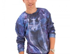 Blue Printed Polyester Sweatshirt - Kitty Carnet de Mode bester Fashion-Online-Shop