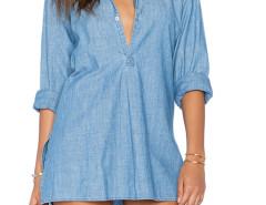 Blue Slit Side Long Sleeve Dipped Denim Dress Choies.com bester Fashion-Online-Shop Großbritannien Europa
