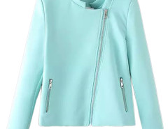 Blue Stand Collar Zipper Detail Coat Choies.com bester Fashion-Online-Shop Großbritannien Europa