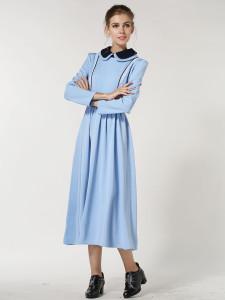Blue Stripe Panel Waist Belt Peter Pan Collar Dress Choies.com bester Fashion-Online-Shop Großbritannien Europa