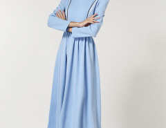 Blue Stripe Panel Waist Belt Peter Pan Collar Dress Choies.com bester Fashion-Online-Shop Großbritannien Europa