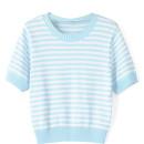Blue Stripe Short Sleeve Knitted Cropped Sweater Choies.com bester Fashion-Online-Shop Großbritannien Europa