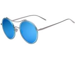 Blue Transparent Frame Round Mirror Sunglasses Choies.com bester Fashion-Online-Shop Großbritannien Europa