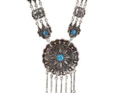 Blue Turquoise Ornate Disc Drop Statement Necklace Choies.com bester Fashion-Online-Shop Großbritannien Europa