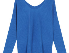 Blue V Neck Long Sleeve Knit Sweater Choies.com bester Fashion-Online-Shop Großbritannien Europa