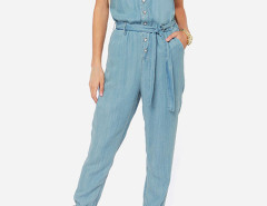 Blue V Neck Tie Waist Denim Jumpsuit Choies.com bester Fashion-Online-Shop Großbritannien Europa