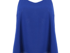 Blue V-neck Hi-lo Diamante Tie Back Cut Out Vest Choies.com bester Fashion-Online-Shop Großbritannien Europa