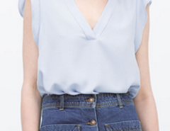 Blue V-neck Ruffle Sleeve Blouse Choies.com bester Fashion-Online-Shop Großbritannien Europa