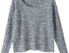 Blue Variegated Long Sleeve Knitted Sweater Choies.com bester Fashion-Online-Shop Großbritannien Europa