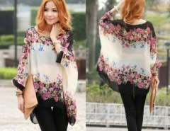 Bohemian Style Women Oversized Dolman Sleeve Floral Chiffon Tops Blouse Cndirect bester Fashion-Online-Shop China