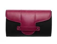 Bond Street Black Cloth and Leather Clutch Carnet de Mode bester Fashion-Online-Shop