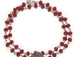 Bracelet with Silver Rose Window Charm and Burgundy Pearls Kelly Carnet de Mode bester Fashion-Online-Shop