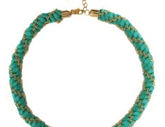 Braided Leather and Gilded Brass Necklace - FIVE Carnet de Mode bester Fashion-Online-Shop