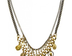 Brass and Pearl Necklace with Charms and Medals LOUXOR JCN22 Carnet de Mode bester Fashion-Online-Shop