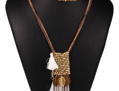 Brown Bead Fringe Leaf And Feather Pendant Multirow Necklace Choies.com bester Fashion-Online-Shop Großbritannien Europa
