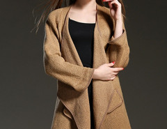 Brown Long Sleeve Waterfall Open Front Cardigan Choies.com bester Fashion-Online-Shop Großbritannien Europa