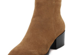 Brown Pointed Toe Contrast PU Detail Heeled Boots Choies.com bester Fashion-Online-Shop Großbritannien Europa