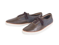 Brown Sneakers in Leather and Tweed - Robert Carnet de Mode bester Fashion-Online-Shop