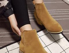 Brown Suedette Pointed Zipper Side Ankle Boots Choies.com bester Fashion-Online-Shop Großbritannien Europa