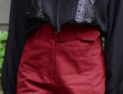Burgundy Belted High Waist Shorts Choies.com bester Fashion-Online-Shop Großbritannien Europa