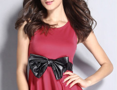 Burgundy Bowknot Detail Peplum Vest Choies.com bester Fashion-Online-Shop Großbritannien Europa