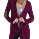 Burgundy Sequined Embellished Sleeve Cardigan Choies.com bester Fashion-Online-Shop Großbritannien Europa