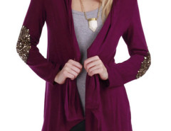 Burgundy Sequined Embellished Sleeve Cardigan Choies.com bester Fashion-Online-Shop Großbritannien Europa