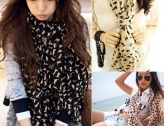 Chiffon Colorful Sweet Cat Pattern Women's Long Scarf Cndirect bester Fashion-Online-Shop China