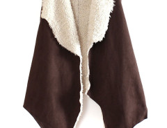 Coffee Lapel Asymmetric Open Front Fur Inside Waistcoat Choies.com bester Fashion-Online-Shop Großbritannien Europa