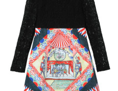 Color Block Lace Panel Character Print Dress Choies.com bester Fashion-Online-Shop Großbritannien Europa